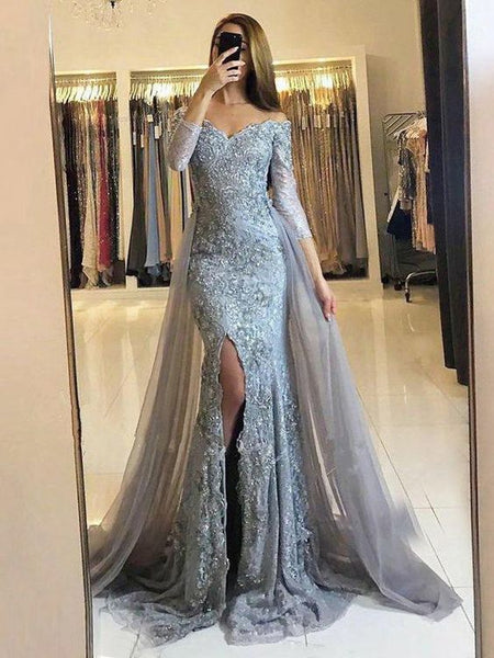 Mermaid Off the Shoulder Detachable Train Light Blue Lace Prom Dresses with Lace, QB0233