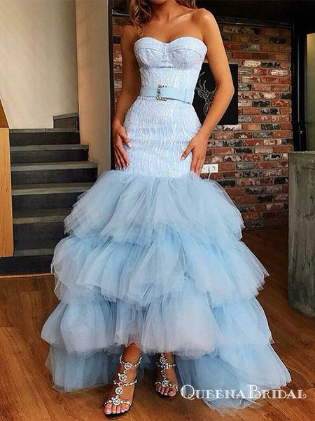 Mermaid Sweetheart High Low Light Blue Tiered Tulle Prom Dresses, QB0521