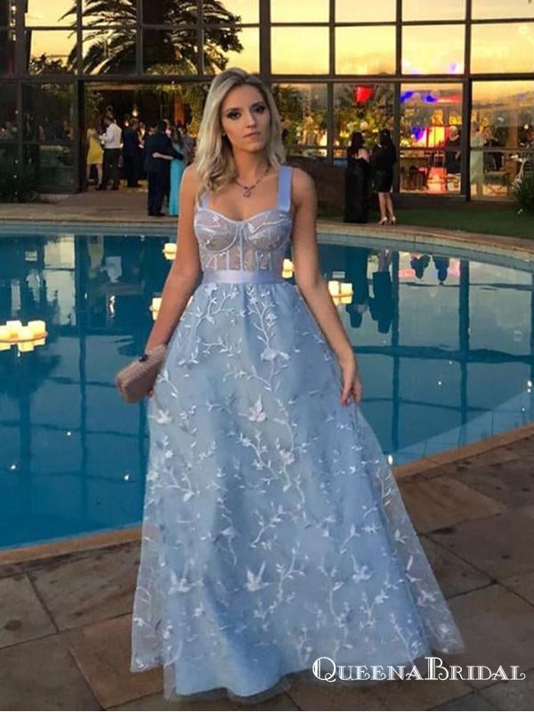 Fancy Newest Light Blue Spaghetti Strap Long Cheap Lace Prom Dresses, QB0799