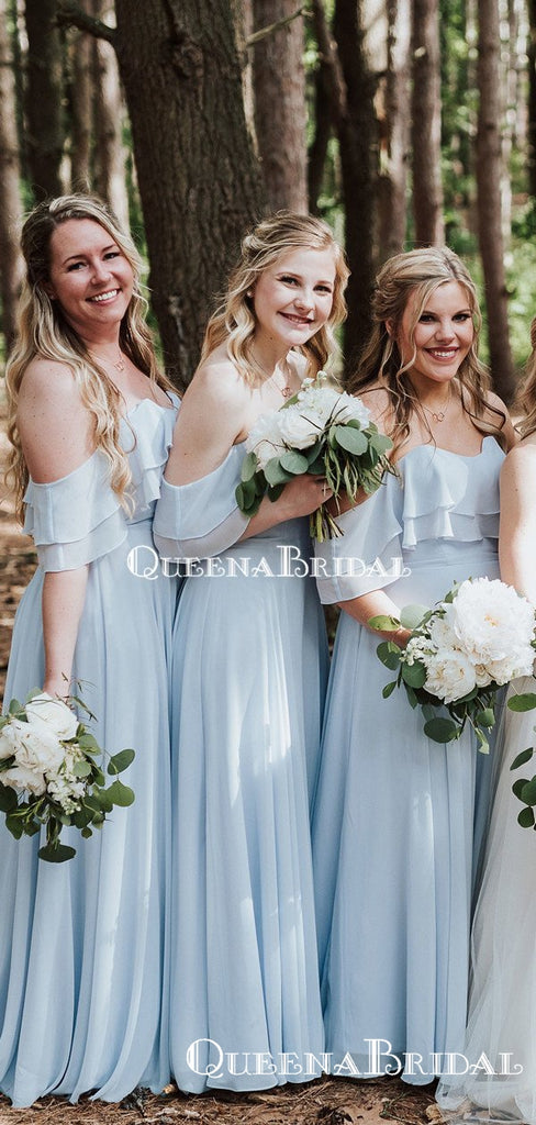Newest Off-Shoulder Light Blue Chiffon A-line Long Cheap Bridesmaid Dresses Online, BDS0076