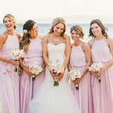 Pretty Round Neck Long Cheap Lilac Chiffon Bridesmaid Dresses with Bow Knot, QB0129