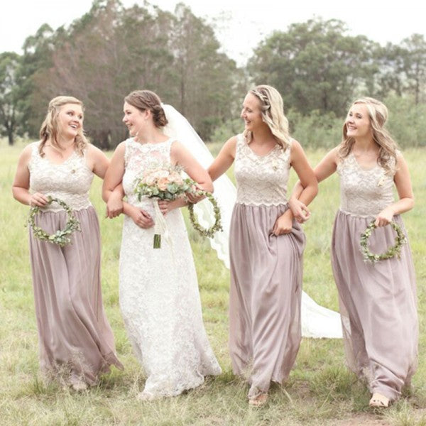 A-Line Round Neck Long Lilac Chiffon Cheap Bridesmaid Dresses with Lace, QB0017