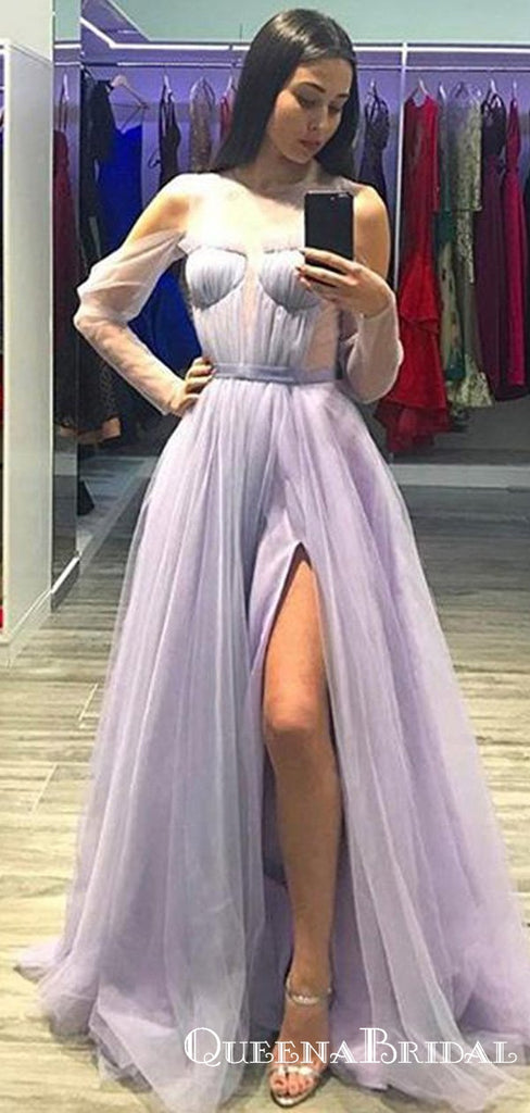 A Line Tulle Prom Dress Modest Cheap Long Simple Prom Dresses, QB0786