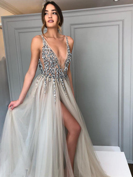 58a26ef9bb0 Long Backless Grey Sexy Prom Dresses with Slit Rhinestone See Through Evening  Gowns