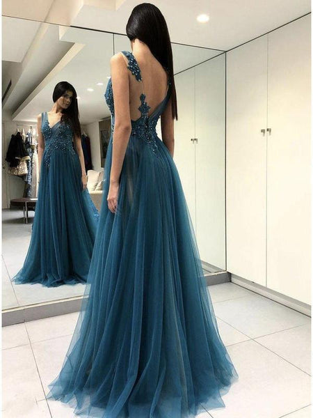 Long See Through Thigh Slit Blue Prom Dresses Backless Beaded Lace Prom Dresses, QB0334