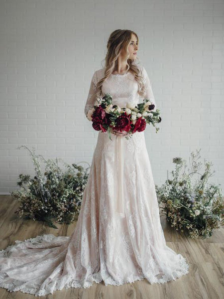Long Sleeve Lace Wedding Dresses Plus Size Vintage Rustic Wedding Dresses, QB0325
