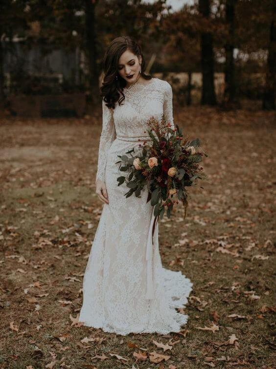 Long Sleeve Vintage Wedding Dresses Backless Rustic Lace Wedding Dresses, QB0323
