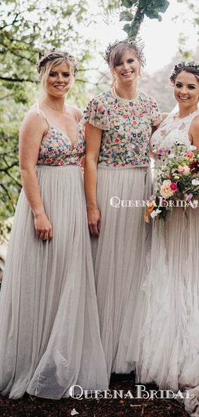 Newest Unique Design Mismatched Grey Tulle Top Flower Appliqued Long Cheap Bridesmaid Dresses, BDS0006