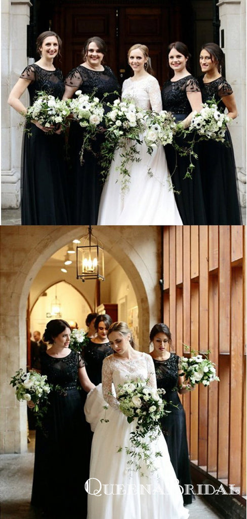 Black Round Neck Cap Sleeve Long Cheap Bridesmaid Dresses With Beaded, QB0623
