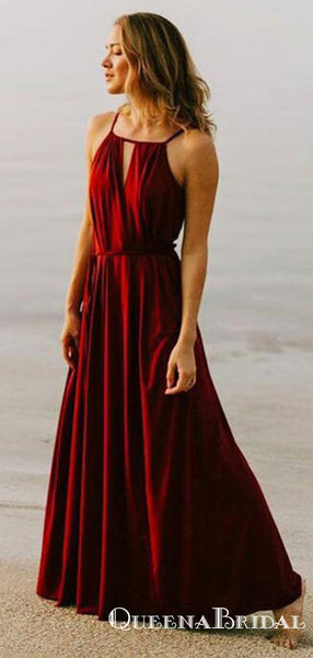 A-Line Square Neck Red Chiffon Long Cheap Bridesmaid Dresses, QB0844