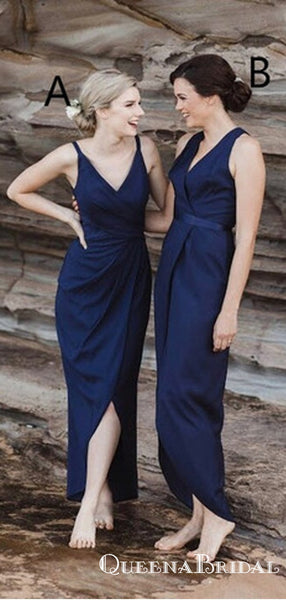 Mismatched Gorgeous Navy Blue Long Cheap Bridesmaid Dresses, QB0878