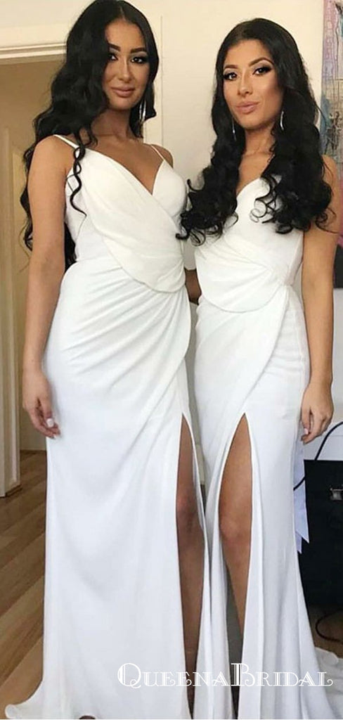 Sheath Spaghetti Straps Mermaid White Chiffon Bridesmaid Dresses with Split, QB0706
