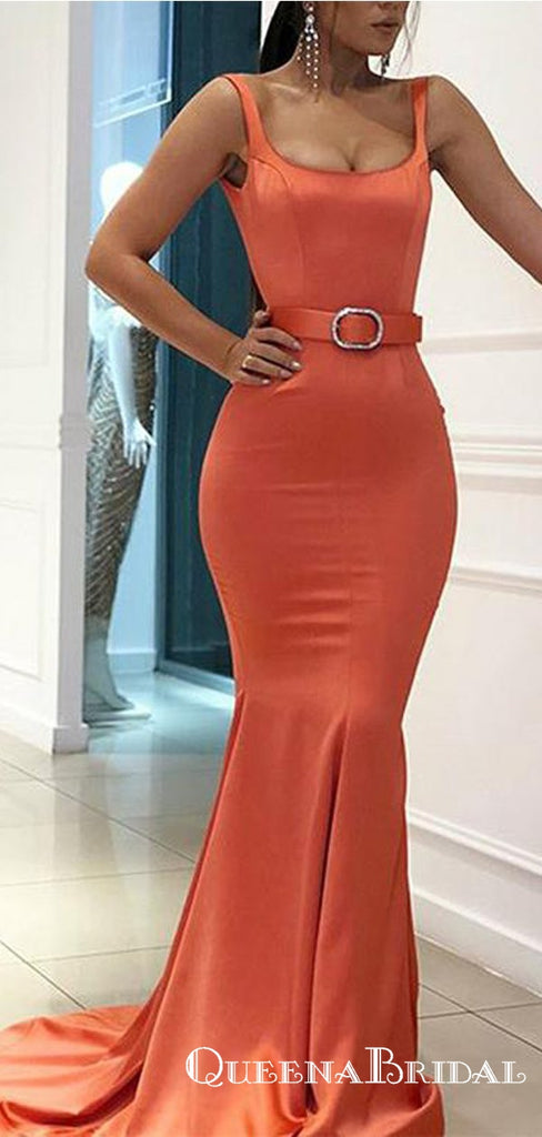 Mermaid Evening Gowns Belt Straps Orange Red Long Prom Dresses, QB0779