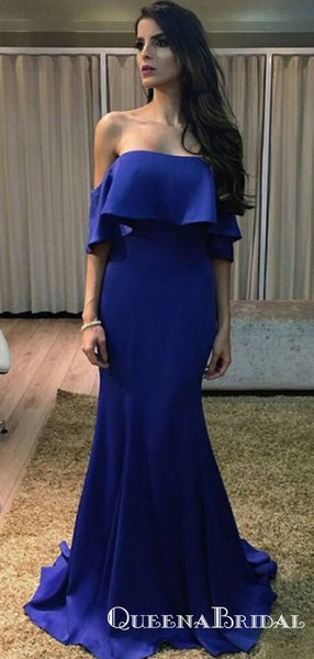 Sheath Sweetheart Neck Royal Blue Long Cheap Prom Dresses with Ruffles, QB0738