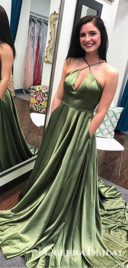 Simple Halter Long Elastic Satin Cheap Prom Dresses with Keyhole, QB0614