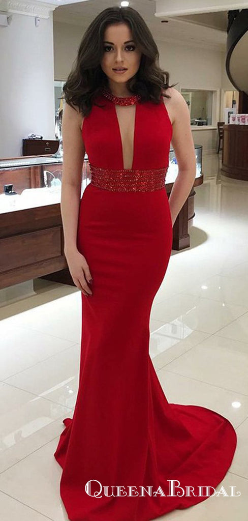 Mermaid Round Neck Red Long Prom Dresses with Beaded Keyhole, QB0517