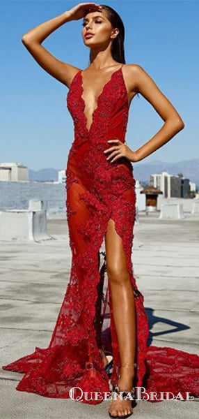 Sexy Red See Through Mermaid  Deep V-Neck Appliques Prom Dresses, QB0792