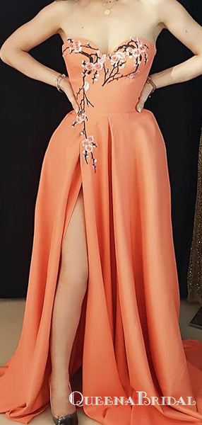 A-Line Sweetheart Long Orange Satin Prom Dresses with Appliques Split, QB0511
