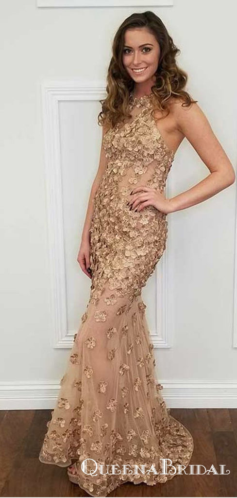 Mermaid Halter Backless Champagne Prom Dresses with Appliques, QB0688