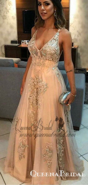 Charming  V-Neck Long Light Champagne Prom Dresses with Appliques, QB0492