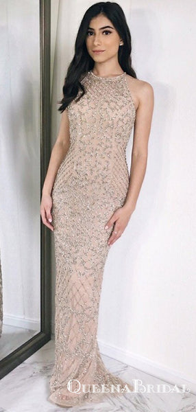 Sheath Round Neck Light Champagne Prom Dresses with Sequins, QB0559