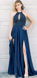 A Line Halter Keyhole Navy Blue Prom Dresses With Beading Split, QB0588