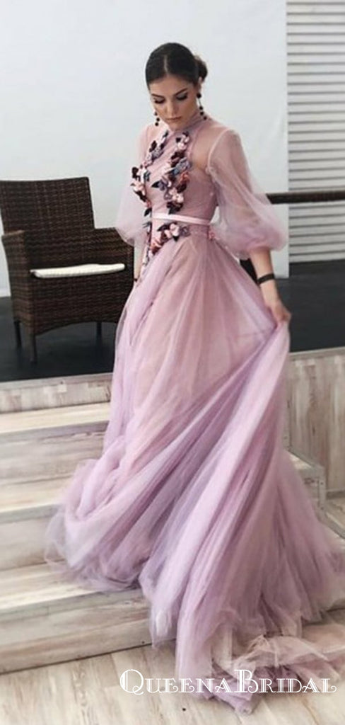 A-Line High Neck 3/4 Sleeves Lilac Long Cheap Prom Dresses with Flowers, QB0795