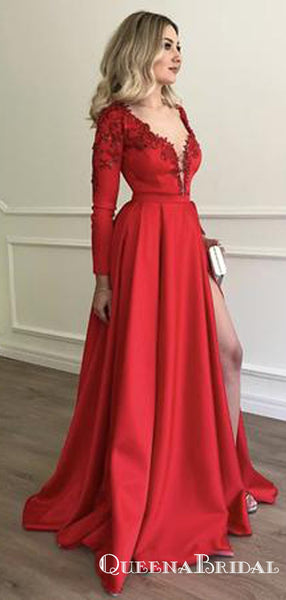 Stylish Embroidery Beaded Long Sleeves Satin Evening Prom Dresses, QB0781