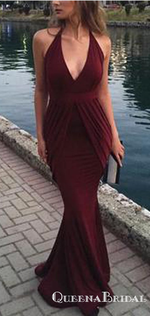 Sexy V Neck Burgundy Long Cheap Mermaid Prom Dresses, QB0790
