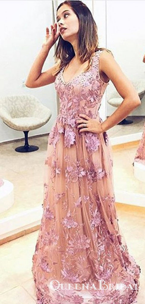 A-Line Scoop Long Cheap Blush Pink Tulle Prom Dresses with Appliques, QB0603