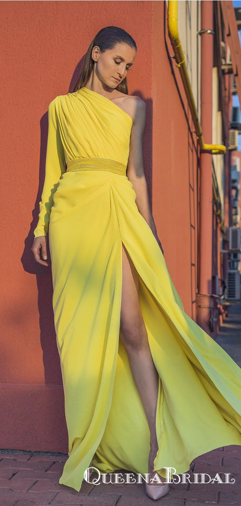 Newest Simple Charming One Shoulder Long Sleeves Yellow Chiffon Long Cheap Side Slit Prom Dresses, QB0927