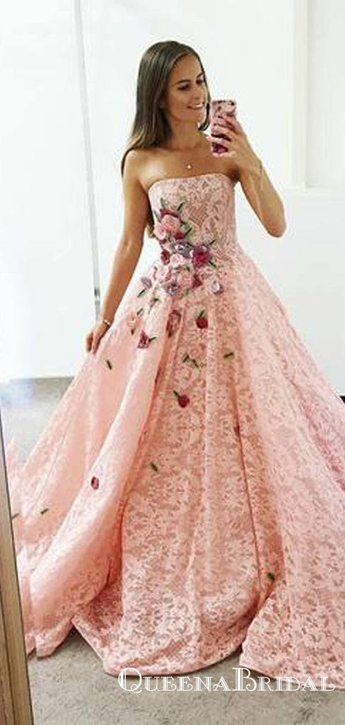 Strapless Pink Lace Long Ball Gown with Floral Embroidery Prom Dresses, QB0602