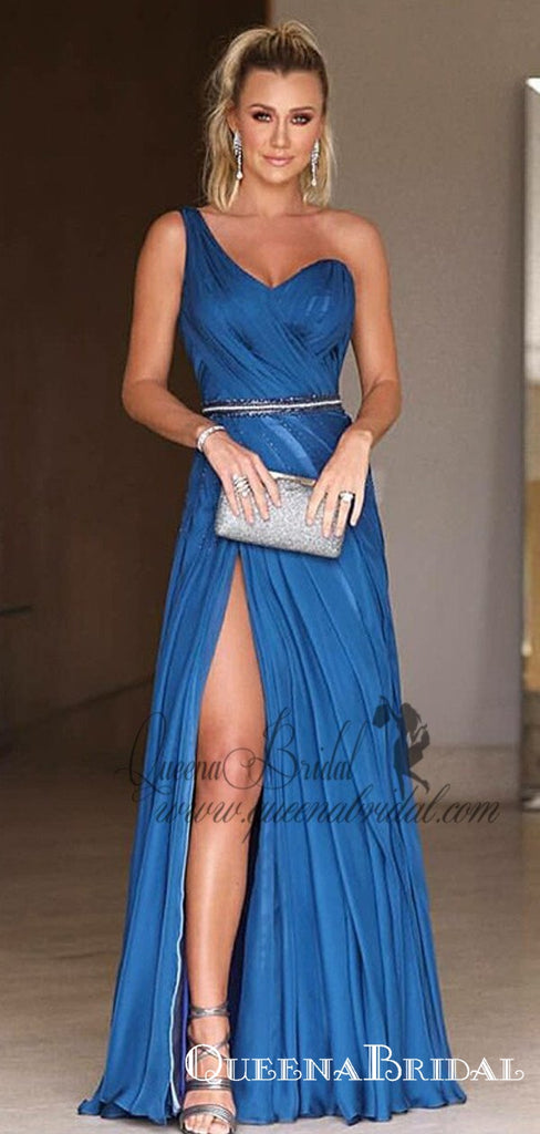 A-Line One-Shoulder Long Blue Ruched Prom Dresses with Split, QB0495