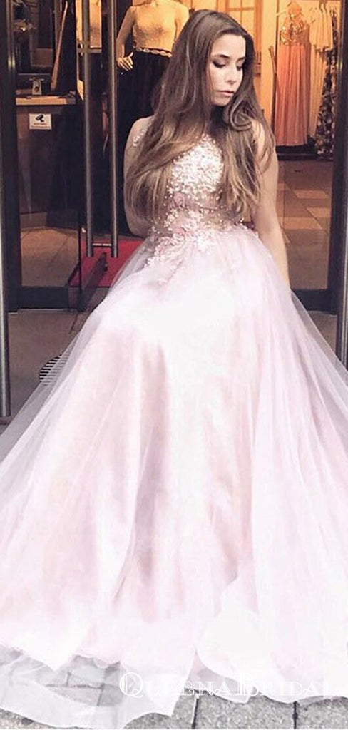 A-Line Round Neck Long Blush Pink Tulle Prom Dresses with Appliques, QB0529
