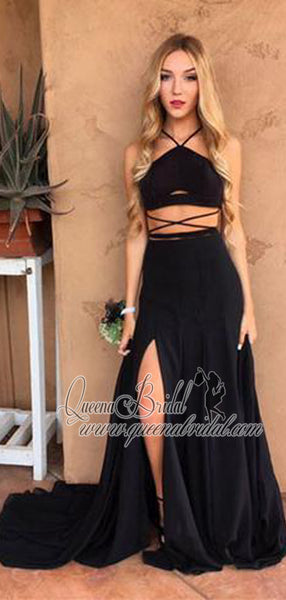 Sexy Black Two Pieces Side Slit Long Cheap Prom Dresses, QB0479