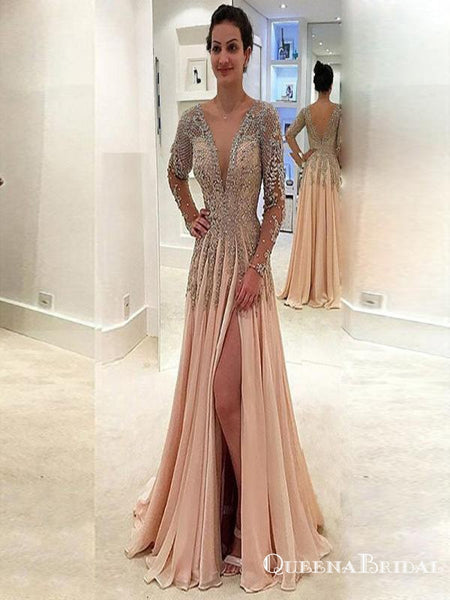 3f75bb701ec Sexy V-Neck Long Sleeve Light Chiffon Prom Dresses with Appliques Beading