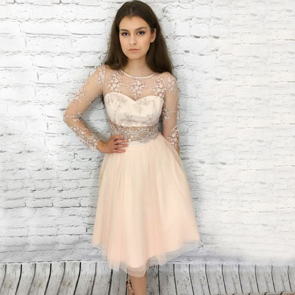 Round Neck Long Sleeves Cheap Short Homecoming Dresses with Appliques, QB0216