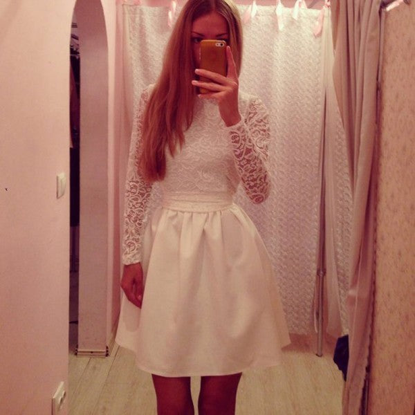 Pretty Jewel Long Sleeves Short Cheap White Homecoming Dresses with Lace, QB0194