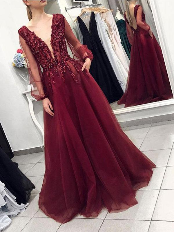 Sexy Backless Long Sleeves Burgundy Lace Long Evening Prom Dresses, QB0398