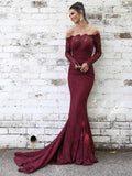 Charming Off Shoulder Long Sleeves Lace Mermaid Long Evening Prom Dresses, QB0369