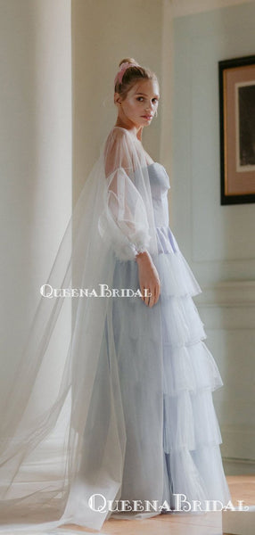 Cute Lovely Square Neckline Long Sleeves Blue Tulle Long Cheap Wedding Dresses, QB0937