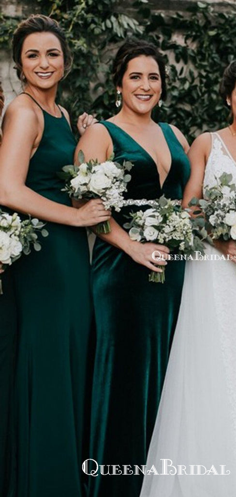 Mismatched Green Long Cheap Charming Bridesmaid Dresses Online, BDS0060
