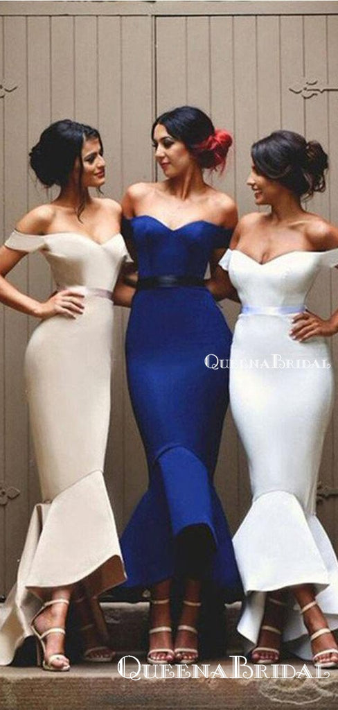 Off-The-Shoulder High Low Mermaid Long Cheap Charming Bridesmaid Dresses Online, BDS0065