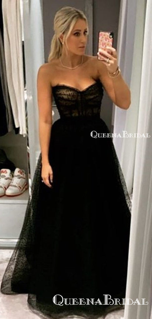 Sweetheart Sleeveless Charming Black Tulle A-line Long Cheap Formal Party Evening Prom Dresses, PDS0065