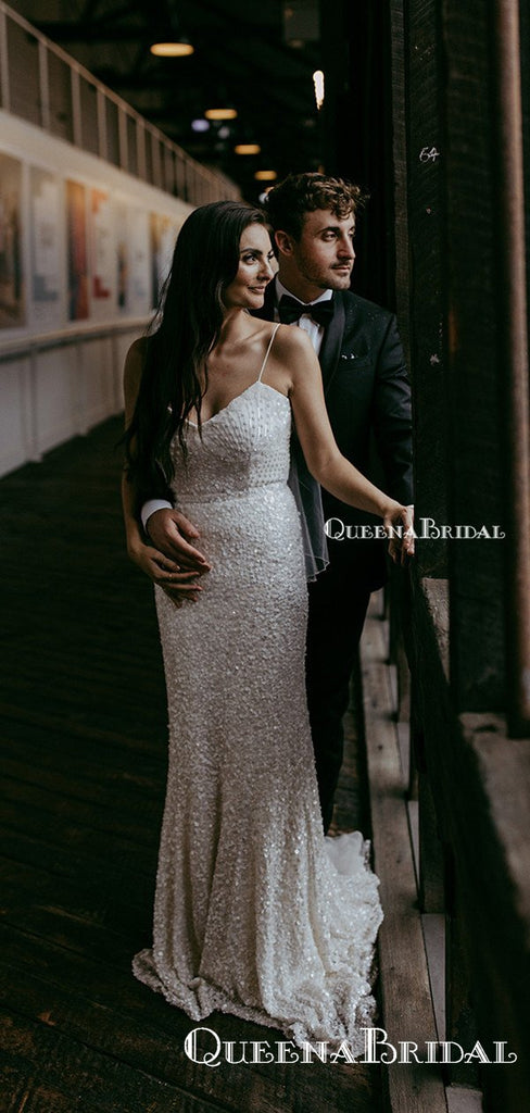 New Arrival V-neck Sequin Bakless Mermaid Long Cheap Wedding Dresses, WDS0016