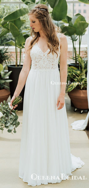 Charming V-neck Spaghetti Strap Ivory Chiffon Lace Appliqued Long Cheap Wedding Dresses, WDS0006