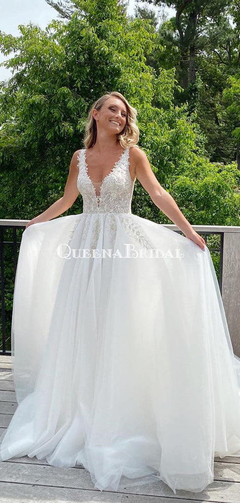 Charming V-neck Lace Appliqued Tulle A-line Long Cheap Beach Wedding Dresses, WDS0043