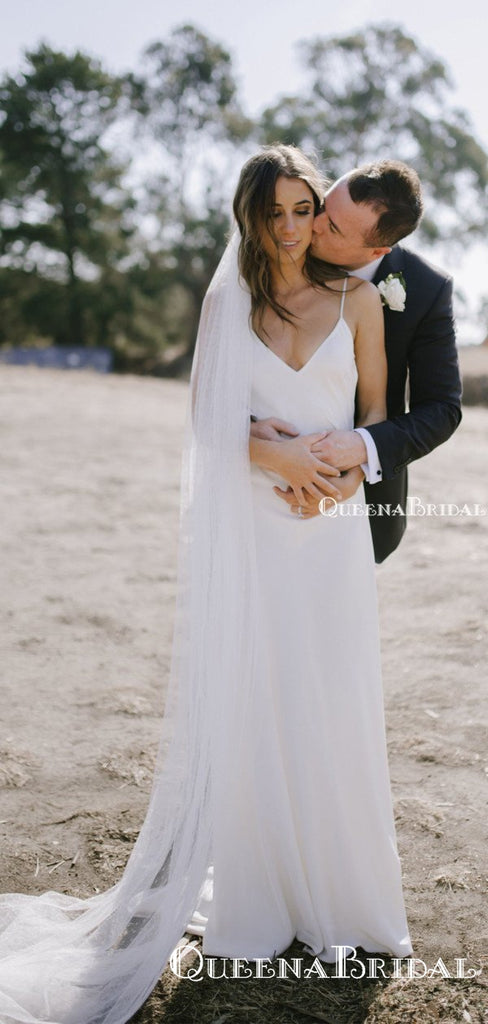 Simple Spaghetti Strap V-neck Off-White Mermaid Long Cheap Wedding Dresses, WDS0017