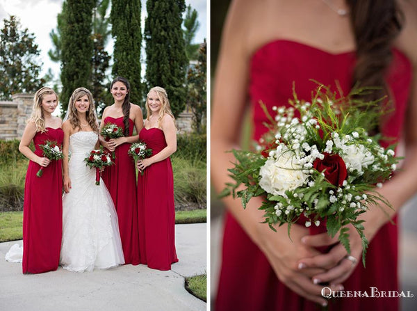Sweetheart Red Chiffon A-line Long Cheap Bridesmaid Dresses Online, BDS0083