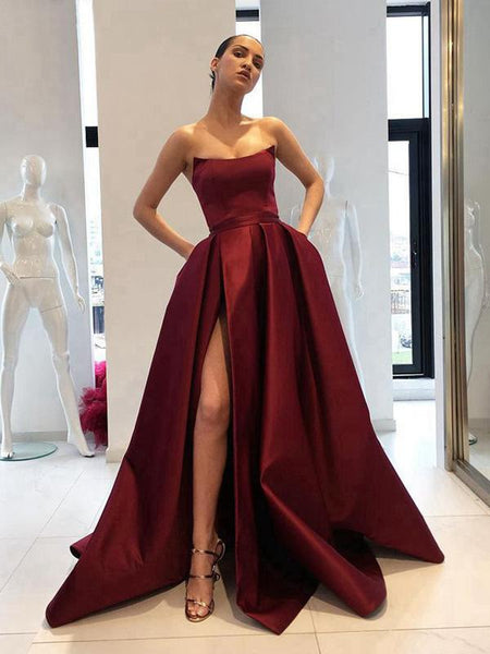 c6304285145 Simple Side Slit Cheap Maroon A-line Long Evening Prom Dresses ...